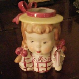 Vintage Napco Girl lady head vase missing umbrella